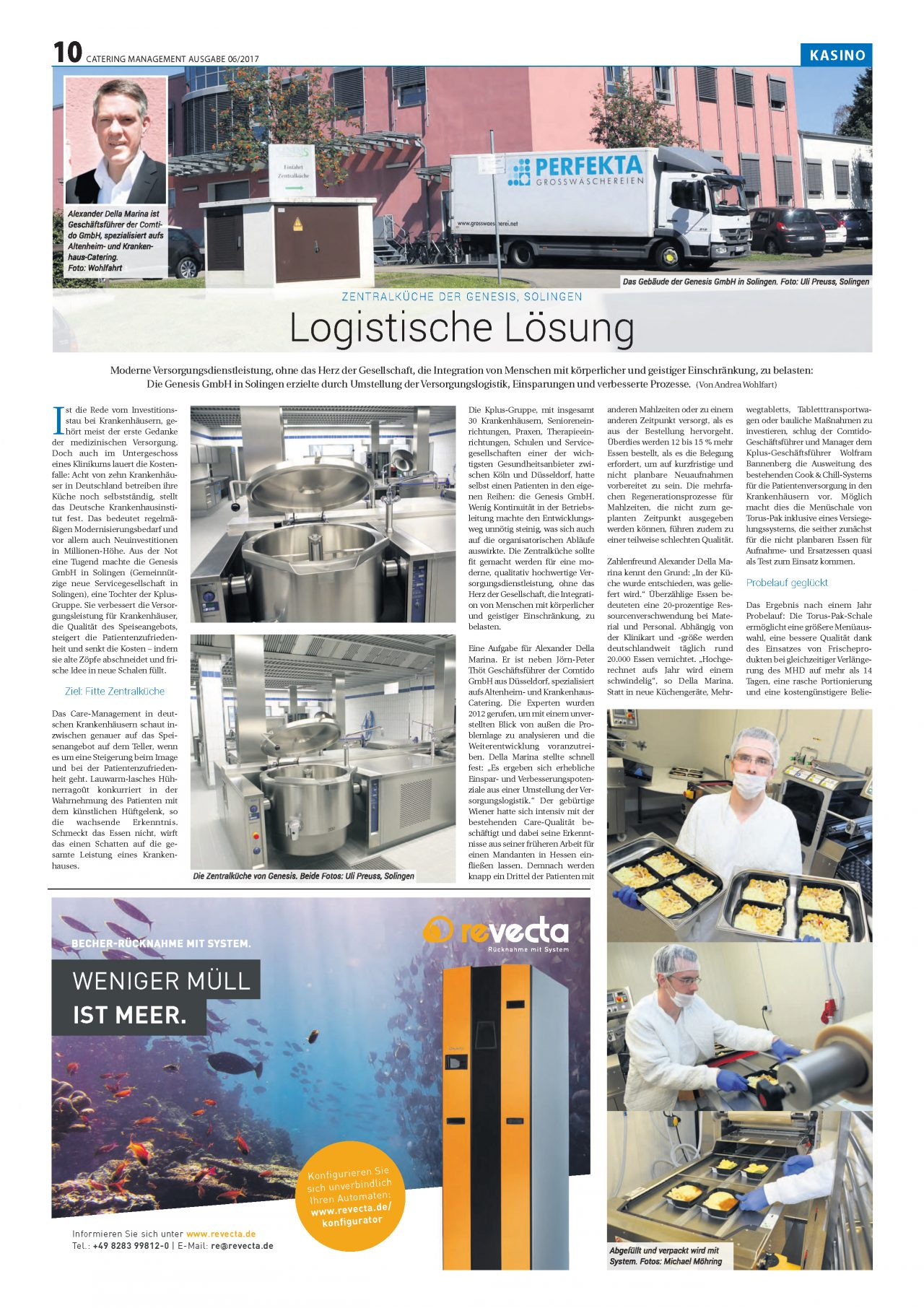Central kitchen of GENESIS Solingen in the June 2017 edition